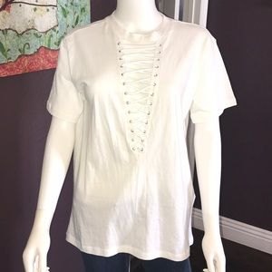 NWT forever 21 oversized t-shirt lace up front S